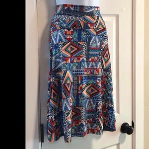 """EUC LulaRoe 3-WAY """"Azure"""" Aztec Print Skirt 2-4"""